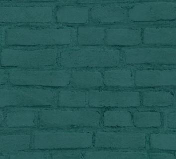 Stein Kacheln Tapete Profhome 374145-GU Vliestapete glatt in Steinoptik matt grün schwarz 5, 33 m2