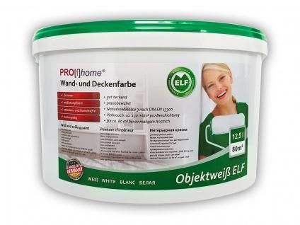 Wandfarbe PROFHOME Objektweiß Innenfarbe Farbe hochergiebig gut deckend matt weiß ELF | 12, 5 Liter Eimer für max. 85 qm - Vorschau 1