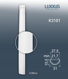Stuck Halbsäule Orac Decor K3101 LUXXUS Säulenschaft Reliefform Material Hartschaum leicht und stoßfest | 2, 02 Meter