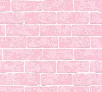 Stein Kacheln Tapete Profhome 359812-GU Vliestapete leicht strukturiert in Steinoptik matt rosa weiß 5, 33 m2