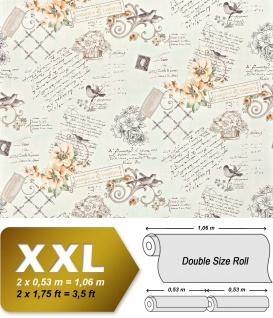 Landhaus Tapete Vliestapete XXL EDEM 904-12 Romantische Mustertapete Blumen Vögel orange grün grau hellbraun 10, 65 m2