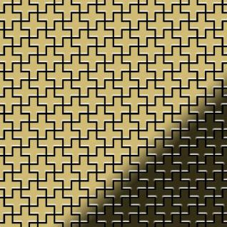 Mosaik Fliese massiv Metall Messing gewalzt in gold 1, 6mm stark ALLOY Swiss CroS-S-BM 0, 88 m2