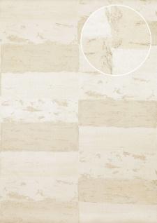 Stein-Kacheln Tapete Atlas ICO-5072-1 Vliestapete glatt mit Natur-Mustern schimmernd weiß grau-beige gold 7, 035 m2