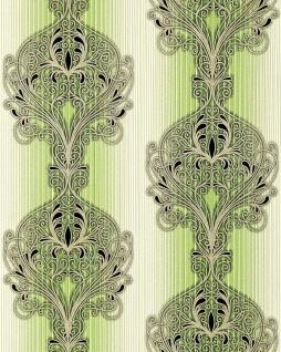 3D Barock Tapete EDEM 096-25 Tapete Damask prunkvolle Ornament-Designs grün hellgrün weiß gold silber schwarz 5, 33 qm