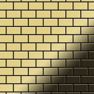Mosaik Fliese massiv Metall Messing gewalzt in gold 1, 6mm stark ALLOY House-BM 0, 98 m2