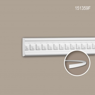Wand- und Friesleiste PROFHOME 151359F Stuckleiste Flexible Leiste Zierleiste Neo-Klassizismus-Stil weiß 2 m