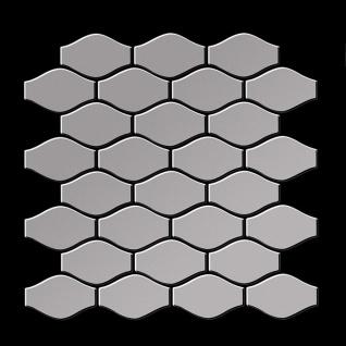 Mosaik Fliese massiv Metall Edelstahl matt in grau 1, 6mm stark ALLOY Karma-S-S-MA Designed by Karim Rashid 0, 86 m2 - Vorschau 3
