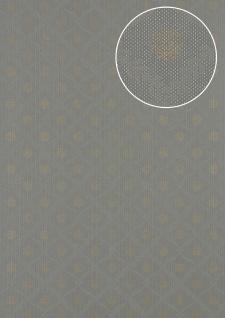 Barock Tapete Atlas PRI-550-2 Vliestapete glatt mit Ornamenten schimmernd grau staub-grau seiden-grau perl-gold 5, 33 m2