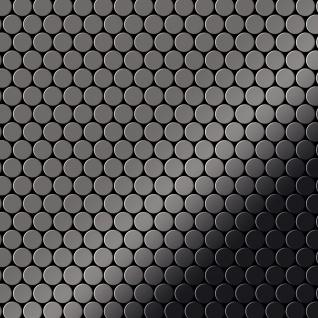 Mosaik Fliese massiv Metall Titan hochglänzend in dunkelgrau 1, 6mm stark ALLOY Penny-Ti-SM 0, 88 m2