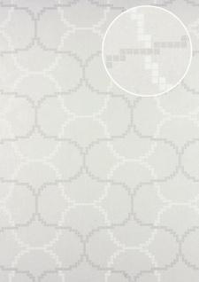 Grafik Tapete ATLAS HER-5132-4 Vliestapete geprägt mit geometrischen Formen schimmernd weiß perl-weiß perl-hell-grau 7, 035 m2