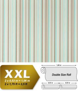 Streifen Vliestapete EDEM 967-25 XXL Streifen-Muster hochwertige Designer Tapete taupe türkis beige 10, 65 qm