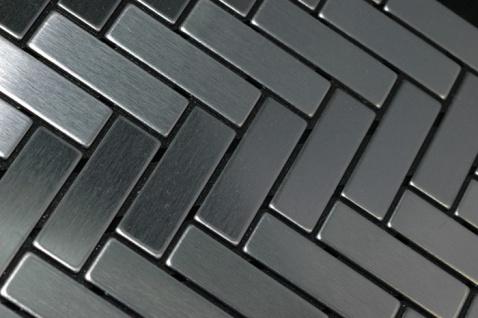 Mosaik Fliese massiv Metall Edelstahl gebürstet in grau 1, 6mm stark ALLOY Herringbone-S-S-B 0, 85 m2 - Vorschau 4