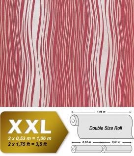 Streifen Tapete Vliestapete EDEM 695-94 Designer Tapete geschwungene Linien himbeer-rot silber gold 10, 65 qm