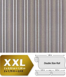 Streifen Tapete XXL Luxus Vliestapete EDEM 999-34 Hochwertiger Metallic Effekt braun silber grau metallic 10, 65 m2
