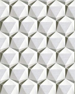 Retro Tapete EDEM 1050-10 Vinyltapete leicht strukturiert mit geometrischen Formen dezent glitzernd creme beige-grau platin weiß 5, 33 m2