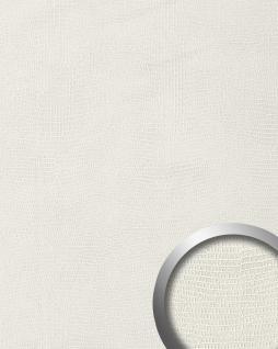 Wandpaneel Leder WallFace 15610 LEGUAN Blickfang Luxus 3D Dekor selbstklebende Tapete Wandverkleidung weiß | 2, 60 qm