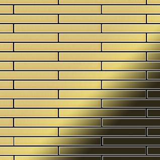 Mosaik Fliese massiv Metall Messing gewalzt in gold 1, 6mm stark ALLOY Avenue-BM 0, 74 m2