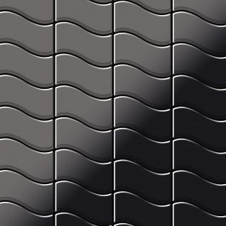 Mosaik Fliese massiv Metall Titan hochglänzend in dunkelgrau 1, 6mm stark ALLOY Flux-Ti-SM Designed by Karim Rashid 0, 86 m2