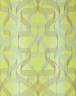 Grafik-Tapete EDEM 507-21 Designer Tapete strukturiert mit abstraktem Muster und metallischen Akzenten gelb-grün perl-gold silber 5, 33 m2