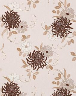 Blumen Tapete EDEM 824-23 hochwertige geprägte floral Blumentapete beige schoko-braun hell-braun silber-grau weiß 70 cm