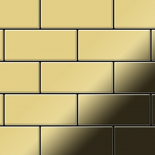 Mosaik Fliese massiv Metall Messing gewalzt in gold 1, 6mm stark ALLOY Subway-BM 0, 58 m2