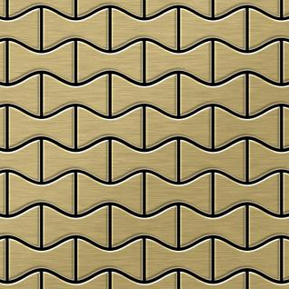 Mosaik Fliese massiv Metall Titan gebürstet in gold 1, 6mm stark ALLOY Kismet-Ti-GB Designed by Karim Rashid 0, 86 m2