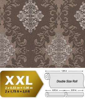 3D Barock Tapete EDEM 9123-26 heißgeprägte Vliestapete geprägt mit Ornamenten und metallischen Akzenten braun platin 10, 65 m2