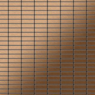 Mosaik Fliese massiv Metall Titan gebürstet in kupfer 1, 6mm stark ALLOY Cabin-Ti-AB 1, 01 m2