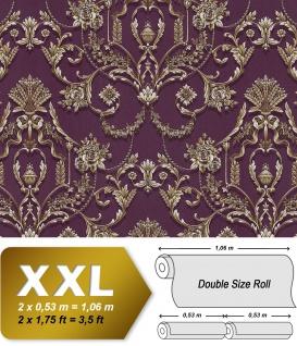 Barock Tapete EDEM 81201BR45 heißgeprägte Vliestapete mit Ornamenten und metallischen Akzenten violett purpur-violett bronze silber 10, 65 m2