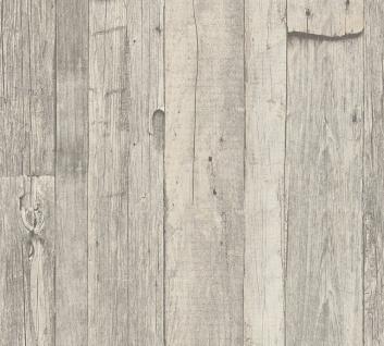 Holz Tapete Profhome 959311-GU Vliestapete glatt in Holzoptik matt grau weiß beige 5, 33 m2