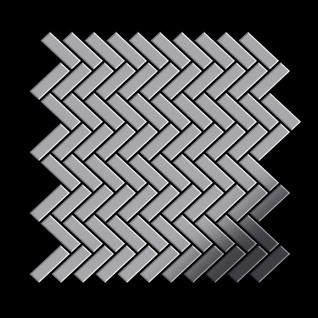 Mosaik Fliese massiv Metall Edelstahl hochglänzend in grau 1, 6mm stark ALLOY Herringbone-S-S-M 0, 85 m2 - Vorschau 3