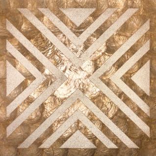 Luxus Muschel Wandverkleidung Wallface LU04-5 CAPIZ Dekorfliesen Set handgearbeitet mit echten Muscheln und Glasperlen Perlmutt Optik beige braun bronze 1 m2