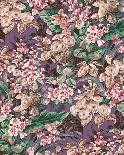 Blumen Tapete Profhome BA220024-DI heißgeprägte Vliestapete geprägt mit floralen Ornamenten matt violett purpur-violett bordeaux-violett alt-rosa 5, 33 m2