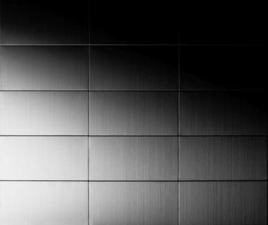 Mosaik Fliese massiv Metall Edelstahl marine gebürstet in grau 1, 6mm stark ALLOY Bauhaus-S-S-MB 1, 05 m2 - Vorschau 4