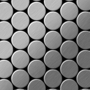 Mosaik Fliese massiv Metall Edelstahl gebürstet in grau 1, 6mm stark ALLOY Dome-S-S-B 0, 73 m2