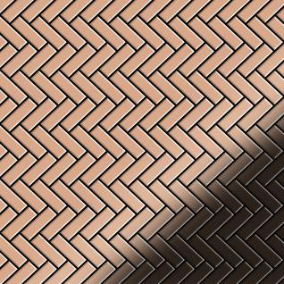 Mosaik Fliese massiv Metall Kupfer gewalzt in kupfer 1, 6mm stark ALLOY Herringbone-CM 0, 94 m2