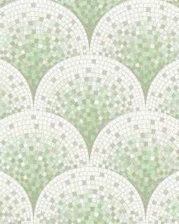 Stein Kacheln Tapete Profhome BA220045-DI heißgeprägte Vliestapete geprägt mit Mosaik Muster glänzend grün weiß pastell-türkis grau-beige 5, 33 m2