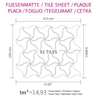 Mosaik Fliese massiv Metall Edelstahl gebürstet in grau 1, 6mm stark ALLOY Ninja-S-S-B Designed by Karim Rashid 0, 67 m2 - Vorschau 5