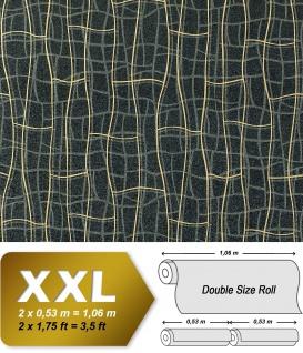 Grafik Tapete Vliestapete EDEM 972-34 XXL Objekttapete abstrakte 3D Netzstruktur Linien Schwarz gold grau 10, 65 qm