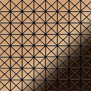 Mosaik Fliese massiv Metall Titan hochglänzend in kupfer 1, 6mm stark ALLOY Deco-Ti-AM 1 m2