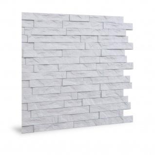 Wandpaneel 3D Profhome 3D 704447 Ledge Stone Matte White Dekorpaneel geprägt in Stein Optik glänzend weiß 2 m2