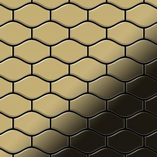 Mosaik Fliese massiv Metall Titan hochglänzend in gold 1, 6mm stark ALLOY Karma-Ti-GM Designed by Karim Rashid 0, 86 m2