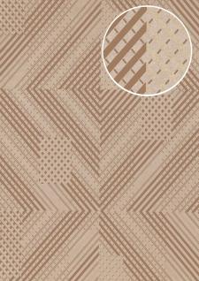 Grafik Tapete ATLAS XPL-564-2 Vliestapete strukturiert mit geometrischen Formen schimmernd grau grau-braun bronze gold 5, 33 m2