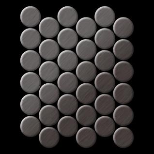 Mosaik Fliese massiv Metall Titan gebürstet in dunkelgrau 1, 6mm stark ALLOY Dome-Ti-SB 0, 73 m2 - Vorschau 3