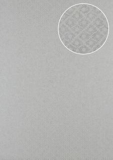 Barock Tapete Atlas PRI-551-1 Vliestapete strukturiert mit Ornamenten und Metallic Effekt silber weiß-aluminium licht-grau seiden-grau 5, 33 m2