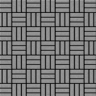 Mosaik Fliese massiv Metall Edelstahl gebürstet in grau 1, 6mm stark ALLOY Basketweave-S-S-B 0, 82 m2