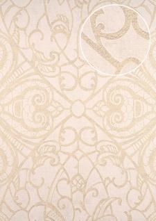 Barock Tapete ATLAS CLA-597-5 Vliestapete geprägt mit grafischem Muster glänzend creme gold weiß 5, 33 m2