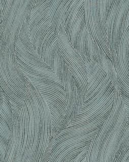 Grafik Tapete Profhome VD219170-DI heißgeprägte Vliestapete geprägt mit geschwungenen Linien und Perlmutt Effekt blau mint weiß 5, 33 m2