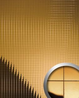 Wandpaneel Wandverkleidung WallFace 10582 M-Style Design Metall Mosaik Dekor selbstklebend spiegelnd gold 0, 96 qm
