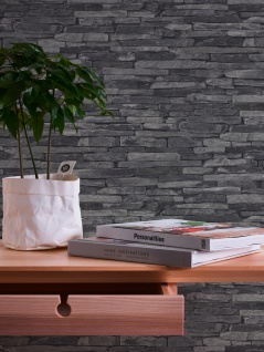 Stein Kacheln Tapete Profhome 914224-GU Vliestapete glatt in Steinoptik matt grau schwarz 5, 33 m2 - Vorschau 5